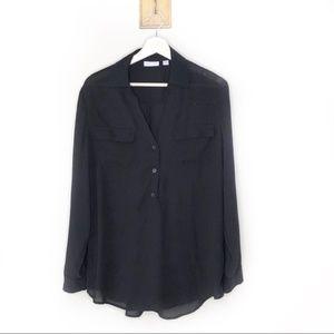 New York & Company Black slicky button blouse
